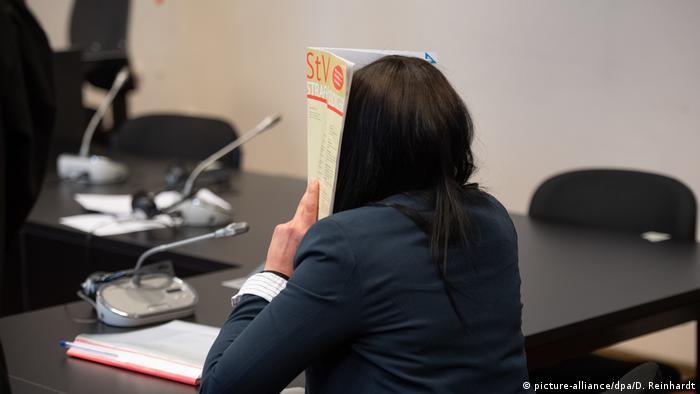 The widow of German IS jihadi Denis Cuspert, alias Deso Dogg, in a Hamburg courtroom on May 4, 2020.