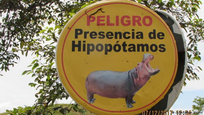 Una señal con hipopótamos en Colombia.
