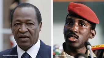 Combinaison d'images de Blaise Compaore (gauche) et Thomas Sankara