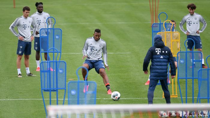 Bayern Munich players returned to training despite the Bundesliga currently being postponed.