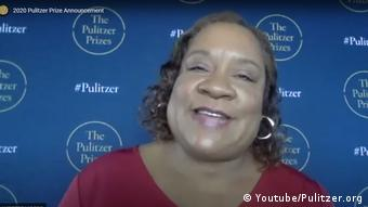 Screenshot Youtube Dana Canedy against a blue backdrop with the logo: The Pulitzer Prizes