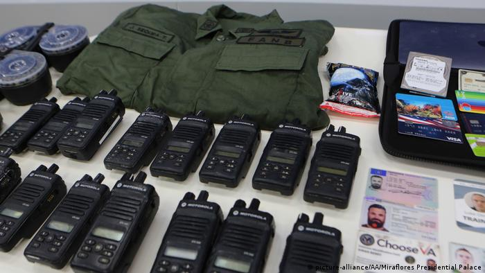 Equipment on display that was used in what Venezuela describes as a foiled attempt to topple Maduro