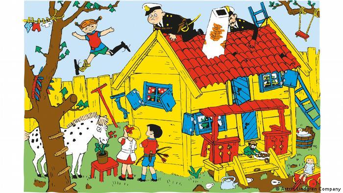 Illustration eines gelben Holzhauses mit blauen Fenstern, Pippi springt gerade vom Dach auf einen Baum, auf dem Dach folgen unsicher zwei Polizisten.
