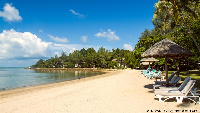 Empty sun beds are usually hard to find on the Malaysian holiday island Langkawi