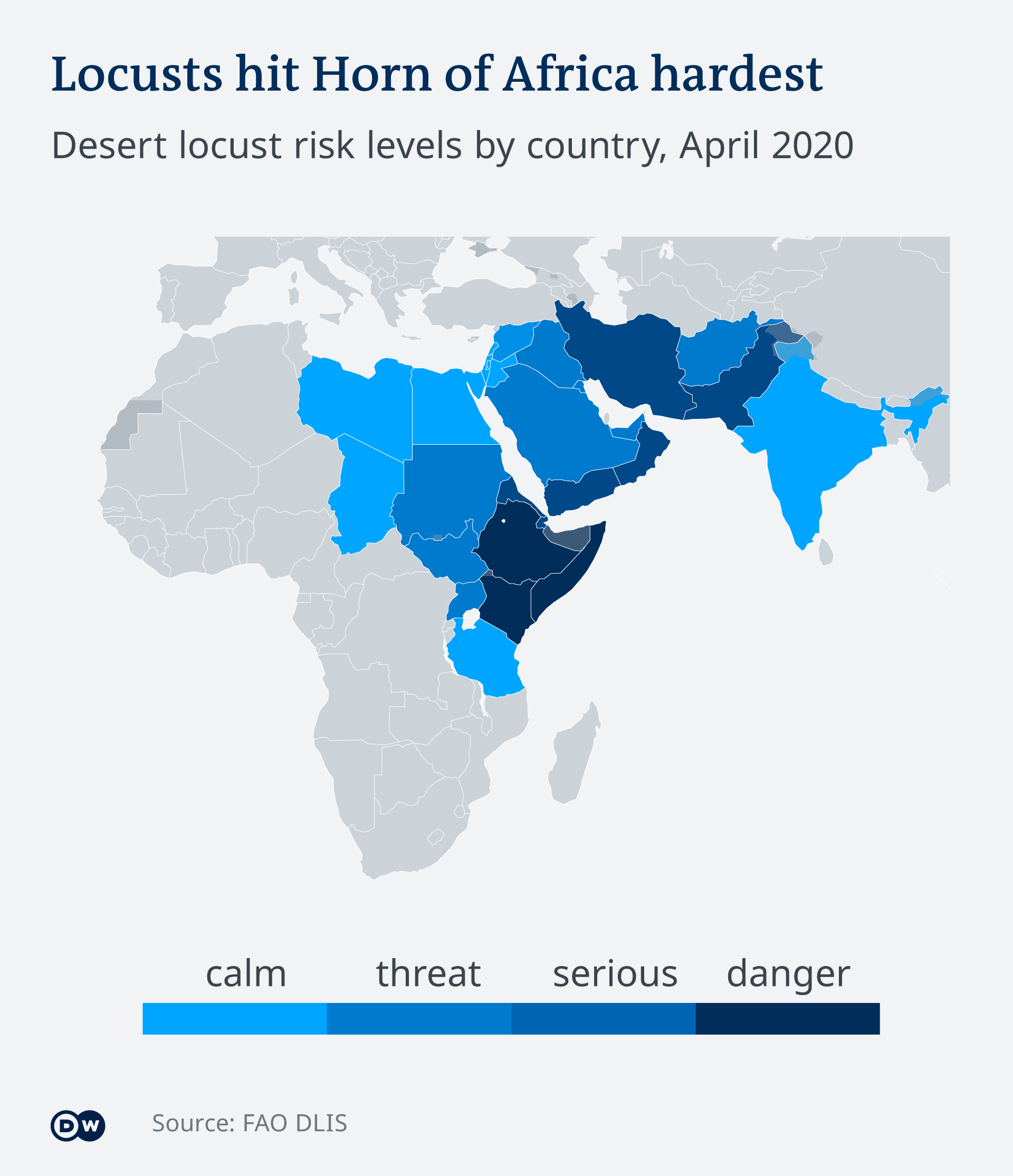 Map Locust threat level by country East Africa