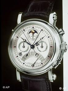 A Franck Muller Conquistador watch valued at $294,000, which comes with a three-day excursion to Geneva for the lucky recipient and a guest, is shown in this undated photo. The watch is just one of the many high-ticket items available to well-heeled holiday gift-givers in this year's edition of the Robb Report's 15th annual Ultimate Gift Guide. Also featured in the guide are a three-estate package of homes for $46 million, a $18 million corporte jet and a $319,000 custom Bentley. (AP Photo/The Robb Report)