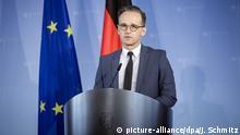 HANDOUT - 22.04.2020, Berlin: Außenminister Heiko Maas (SPD) gibt vor einer Videokonferenz mit den anderen Außenministern der EU Staaten ein Statement für die Presse. Die Minister wollen unter anderem die Lage in Libyen beraten wie auch das EU-Türkei-Abkommen. Foto: Janine Schmitz/photothek.net/Pool/dpa +++ dpa-Bildfunk +++ |