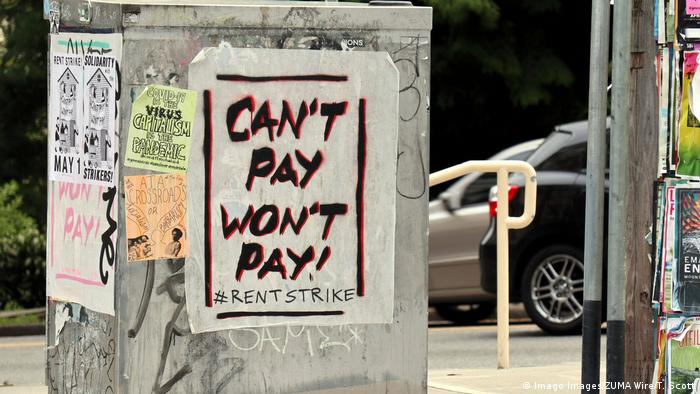 A sign about a rent strike from 2020 in Seattle