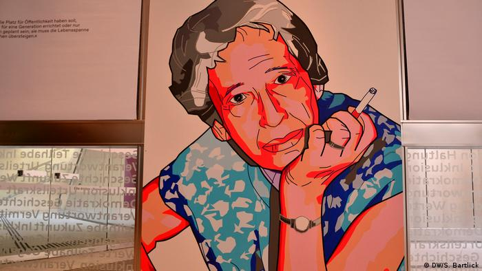 A colorful illustration of Hannah Arendt at a previous exhibition.