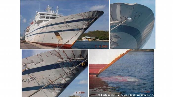 La Resolute permanece con embargo en el puerto de Willemstad. Sólo podrá zarpar si paga una garantía. En estas imágenes del informe de GAMA se aprecian los daños que sufrió en el choque.