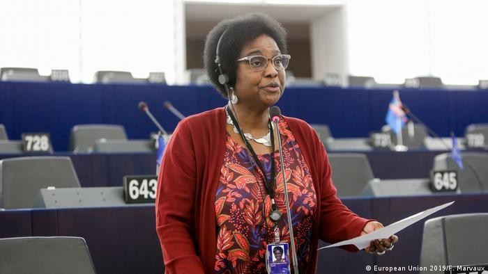 Dr. Pierrette Herzberger-Fofana speaks at the European Parliament in Strasbourg