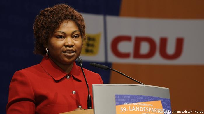 Sylvie Nantcha speaks at a CDU event