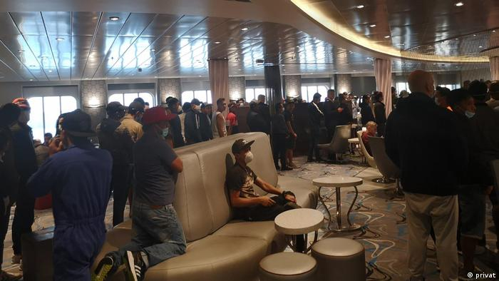 A room is shown crowded with people on TUI's My Schiff 3