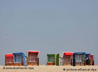 Beach chairs on the island of Foehr