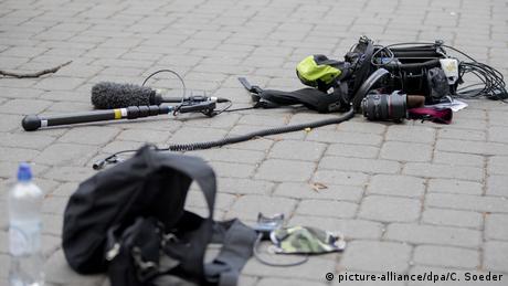 На месте нападения на журналистов канала ZDF в мае 2020 года в Берлине