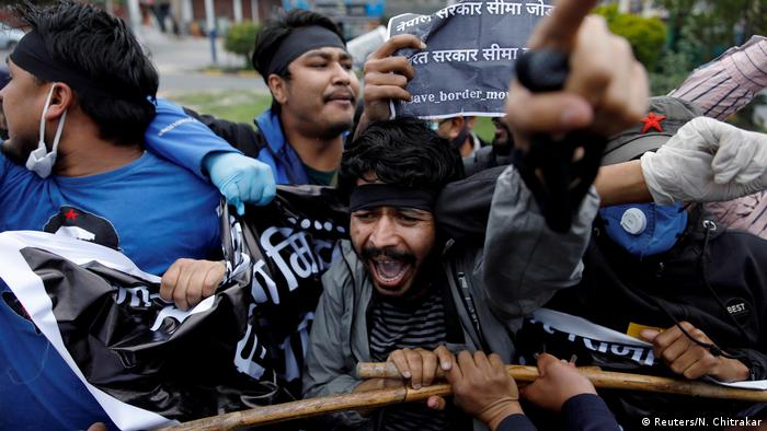 Students protest against the alleged encroachment of Nepal border by India in far west Nepal
