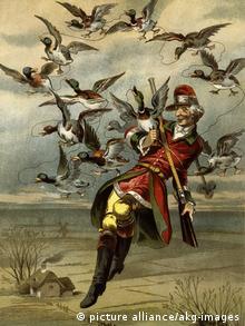 Полет с утками. Иллюстрация к немецкому изданию Приключений барона Мюнхгаузена