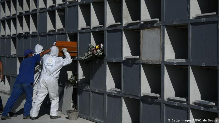 Cemetary workers wearing protective clothing place the coffin of a victim of the novel coronavirus, COVID-19, into a grave cubicle at Caju cemetary in Rio de Janeiro, Brazil, on May 9, 2020