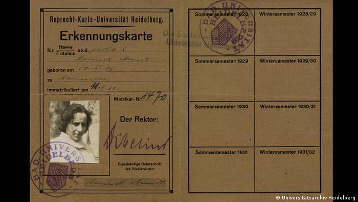 Студенческий билет Ханны Арендт (Гейдельберг, 1928 год)