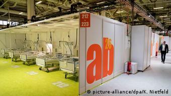Выставочный павильон в Берлине готов к приему больных COVID-19.