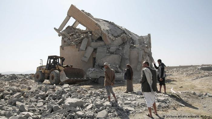 A destroyed prisoner camp in Yemen