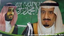 Saudi-Arabien Banner König Salman und Kronprinz Mohammed bin Salman