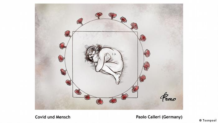 Cartoon of a person wearing a face mask and curled up in a fetal position, lying in a circle dotted by what might be viruses (von Paolo Calleri aus Deutschland)