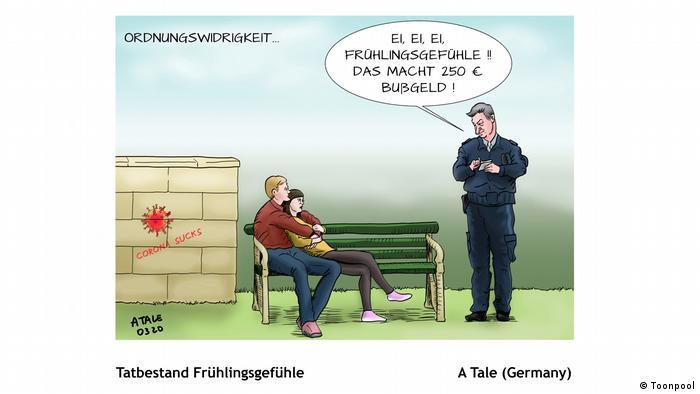 Cartoon mit dem Titel 'Tatbestand Frühlingsgefühle' (von A Tale aus Deutschland)