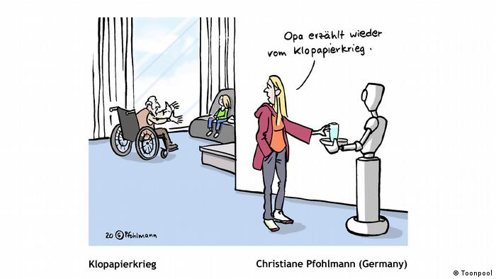 Cartoon mit dem Titel 'Klopapierkrieg' (von Christiane Pfohlmann aus Deutschland)