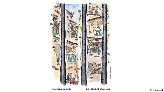 Cartoon mit dem Titel 'Connected by Music' (von Frits Ahlefeldt aus Dänemark)