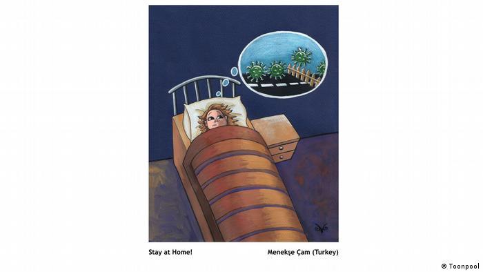 Cartoon of a girl in bed, wide awake, with green viruses jumping a fence in a speech bubble over her head (von Menekşe Çam aus der Türkei)