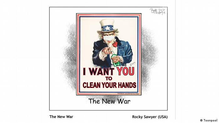 Cartoon mit dem Titel 'The New War' (von Rocky Sawyer aus den USA)
