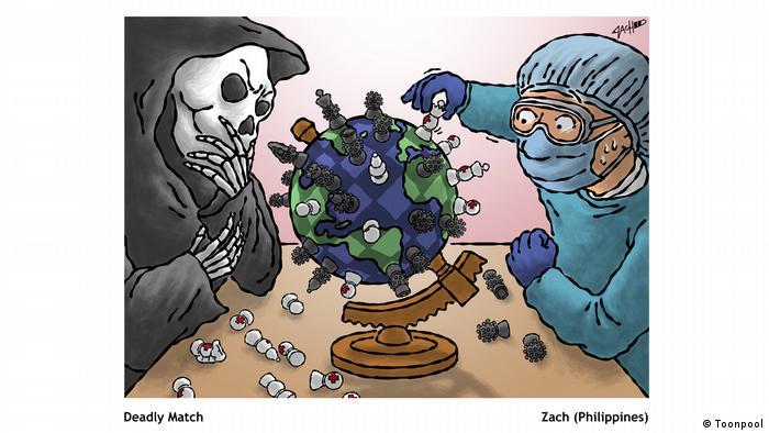 Cartoon with the title 'Deadly Match' (von Zach aus den Philippinen)