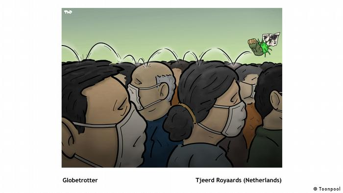 Cartoon of a crowd of heads with face masks entitled 'Globetrotter' (von Tjeerd Royaards aus den Niederlanden)