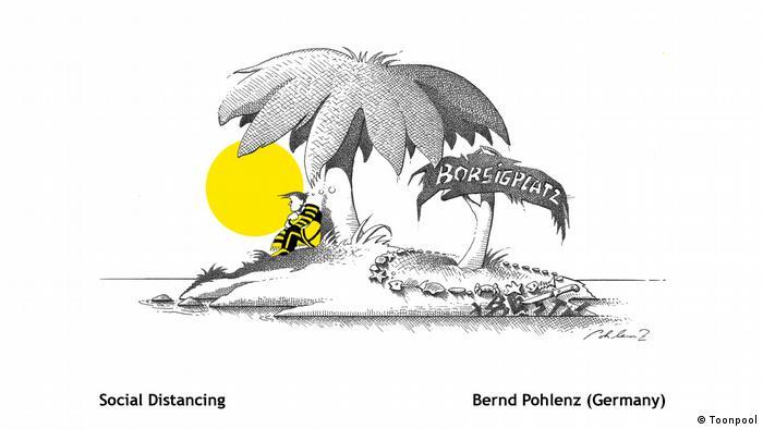 Cartoon mit dem Titel 'Social Distancing' (von Bernd Pohlenz)