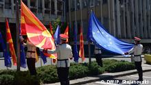 09.05.2020, Skopje Nordmazedonien, Hissen der EU-Flagge am Europa Tag in Nordmazedonien // Redakteur: Boris Georgievski