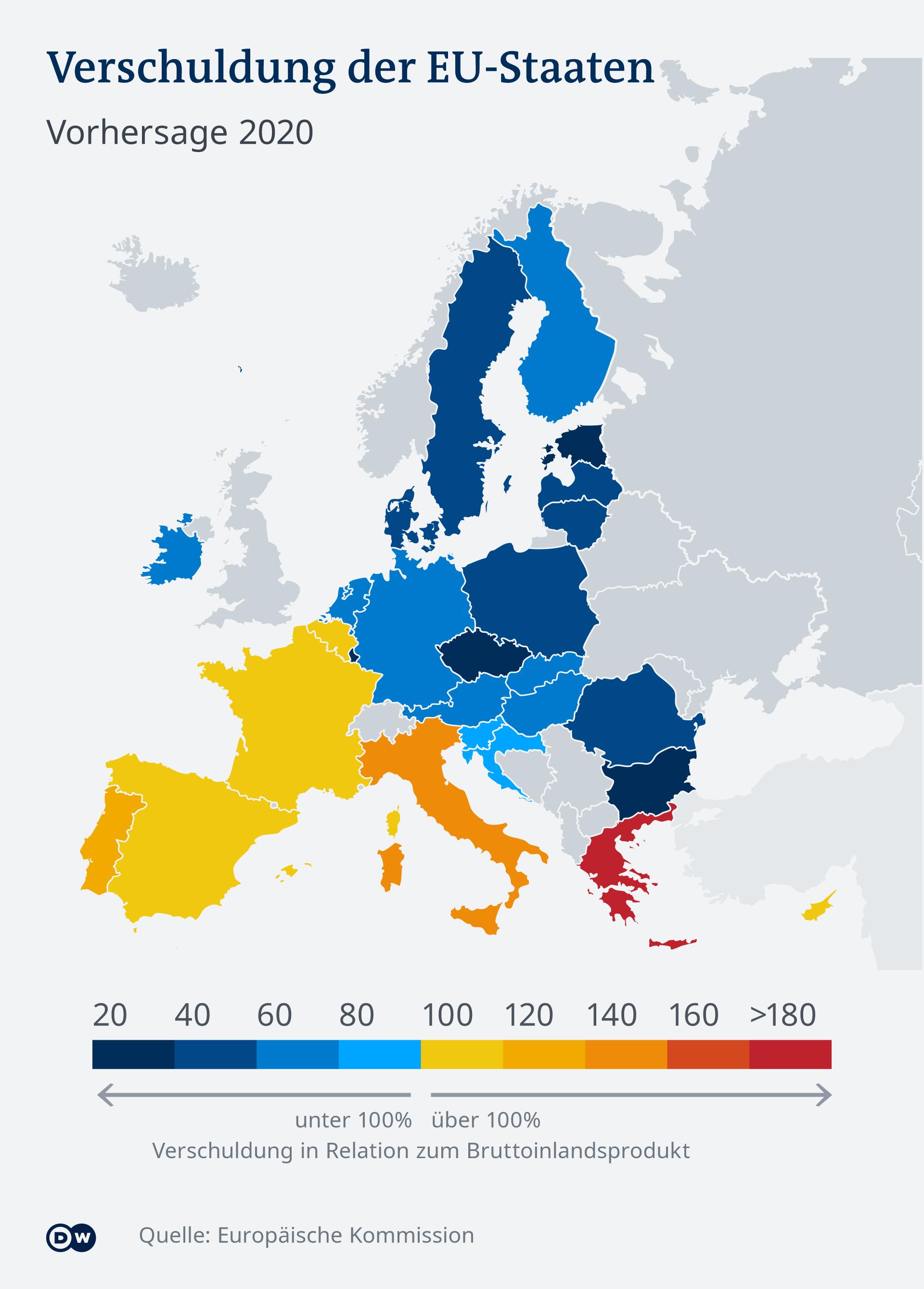 Infografik Verschuldung als Teil der BIP Vergleich EU-Länder DE