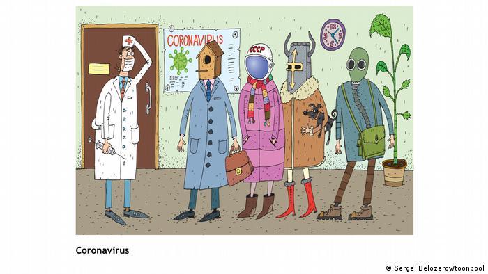 Cartoon mit dem Titel 'Coronavirus' (von Sergei Belozerov/toonpool aus Russland)