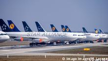 Deutschland - Frankfurt - 28.03.2020 / Frankfurter Flughafen - die Nordwest-Landebahn wird zum Lufthansa Parkplatz Wirts