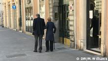 May 2020 An elderly couple donning masks go out for a walk in Rome on May 4th, the day the full quarantine lifted in Italy.