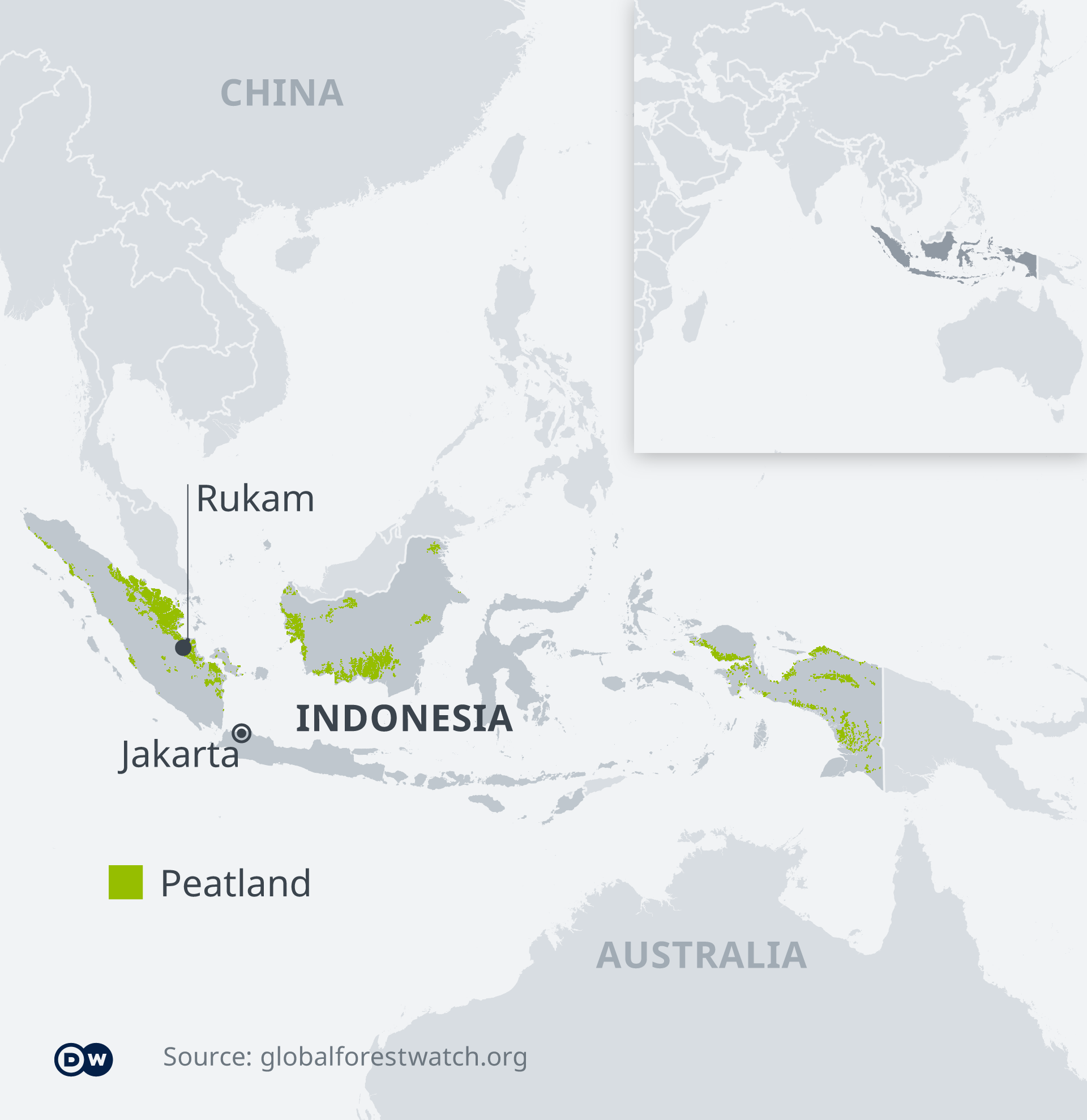Map shows peatland coverage in Indonesia and location of Rukam village.