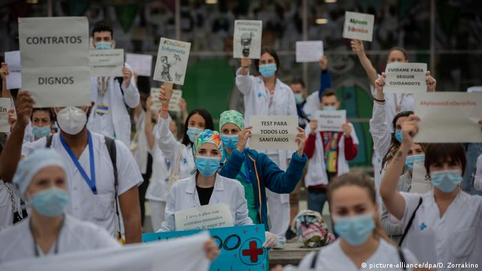 Hospital employees in Barcelona in May protested to call for coronavirus tests for all hospital personnel