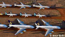 Australien: Wegen der Coronakrise geparkte Flugzeuge in Alice Springs (Steve Strike)