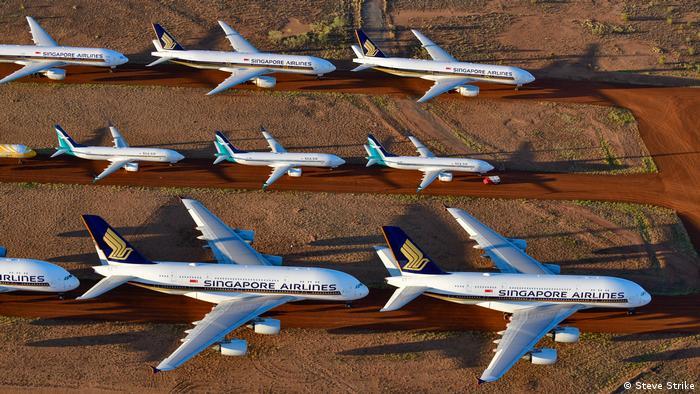 Planes parked in the desert near Alice Springs, Australia
