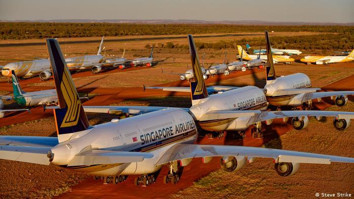 Planes parked in Alice Springs, Australia