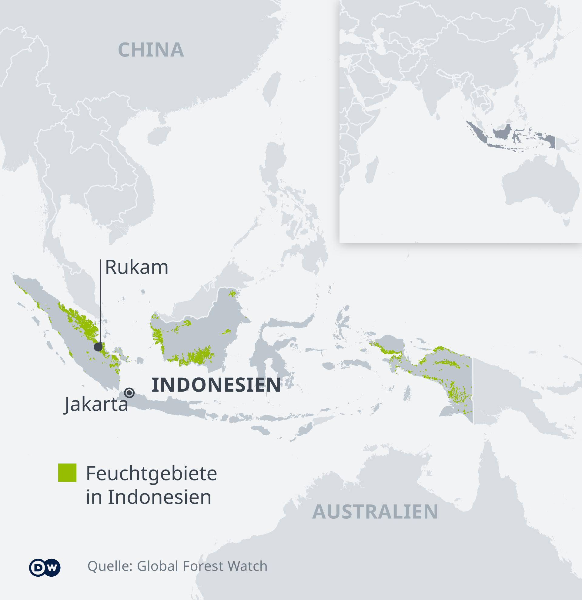 Die Karte zeigt die Verbreitung von Torfmooren in Indonesien und die Lage des Dorfes Rukam.
