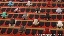 TOPSHOT - Worshippers perform the Friday prayers during the Muslim holy month of Ramadan, while keeping a safe distance from each other, at the Mohammed Al-Amin Mosque in the Lebanese capital Beirut's downtown district, after some measures that were taken by the authorities in a bid to prevent the spread of the novel coronavirus were eased, on May 8, 2020. (Photo by ANWAR AMRO / AFP) (Photo by ANWAR AMRO/AFP via Getty Images)