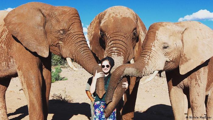 a woman with tree elephants, South Africa(Nicole Meißner)