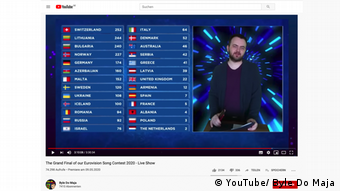 Screenshot YouTube The Grand Final of our Eurovision Song Contest 2020 - Live Show