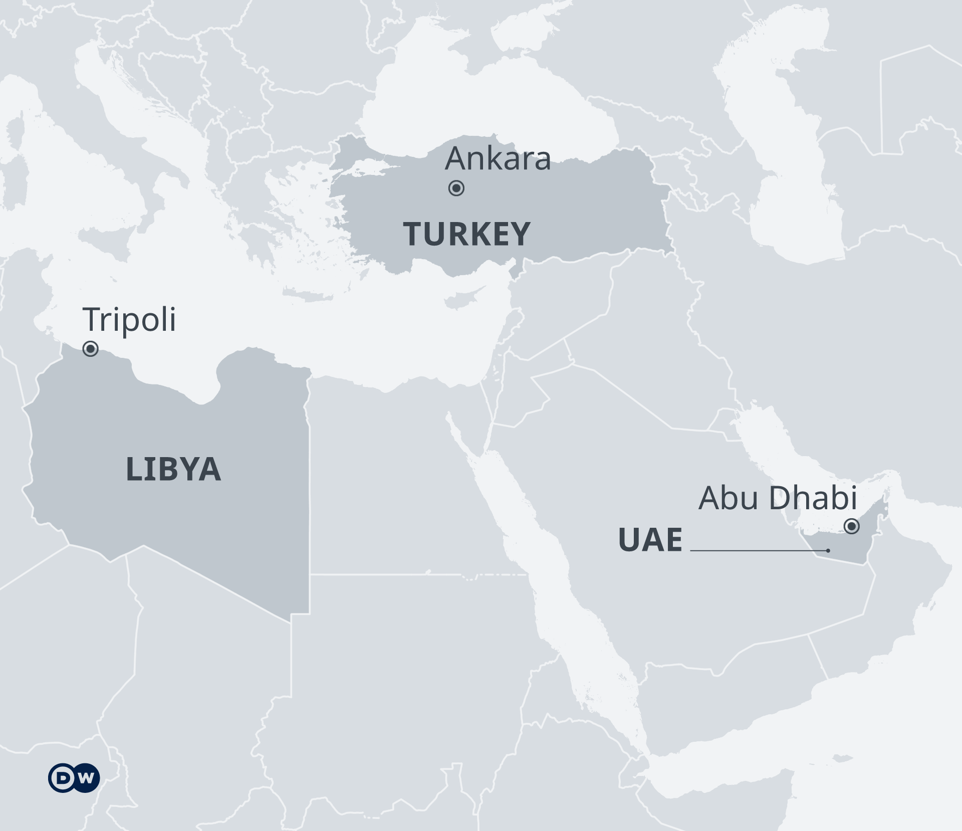 Karte Libyen UAE Türkei EN